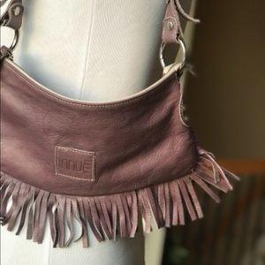 Innue purple fringed bag